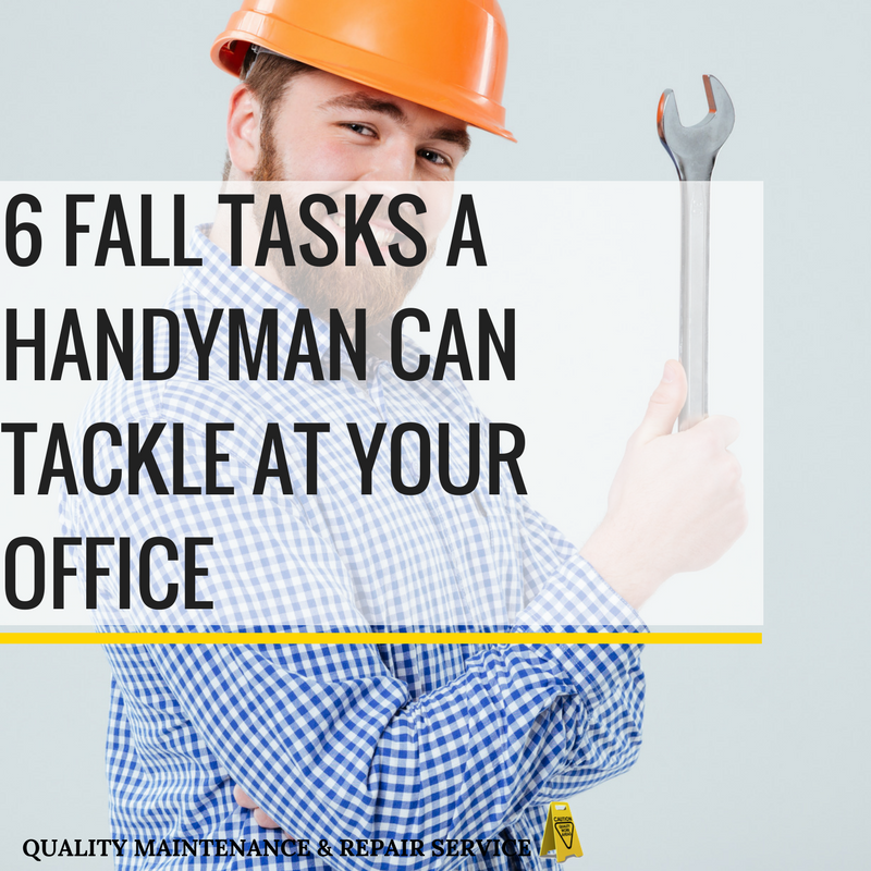 Handyman prepared to complete fall maintenance tasks in a commercial office.